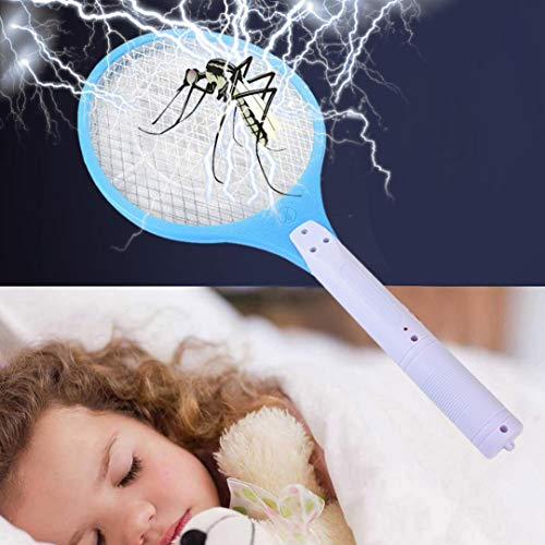 Quaanti Mosquito Killer Electric Mosquito Swatter Anti Mosquito Tennis Bat Handheld Insect Repeller Fly Bug Wasp Racket Trap Home Tool (Sky Blue)