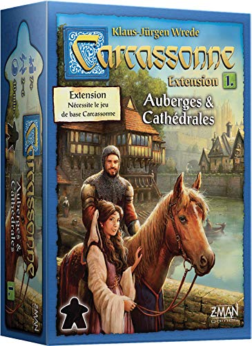 Asmodée Carcassonne-Extension Auberges & Cathédrales, CARC03N, Jeu Famille Asmodee