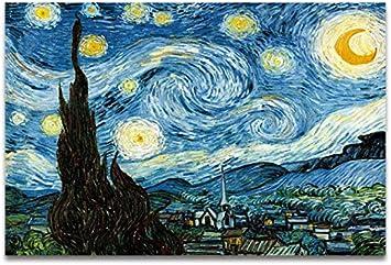 NOBRAND Famoso Artista Pintura Al Óleo Cielo Estrellado Iris Flor Amanecer Paisaje Lienzo Pintura Impresión Moderna Moda Cartel Sin Marco Pintura 40X50 Cm (P: 0797)