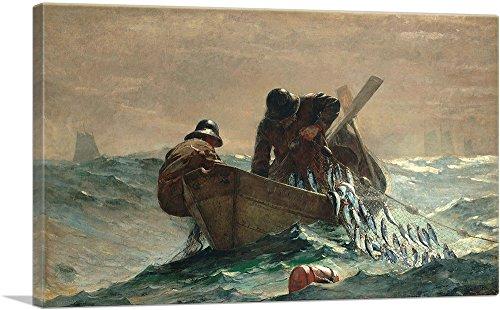 """ARTCANVAS The Herring Net 1885 Canvas Art Print by Winslow Homer- 26"""" x 18"""" (1.50"""" Deep)"""