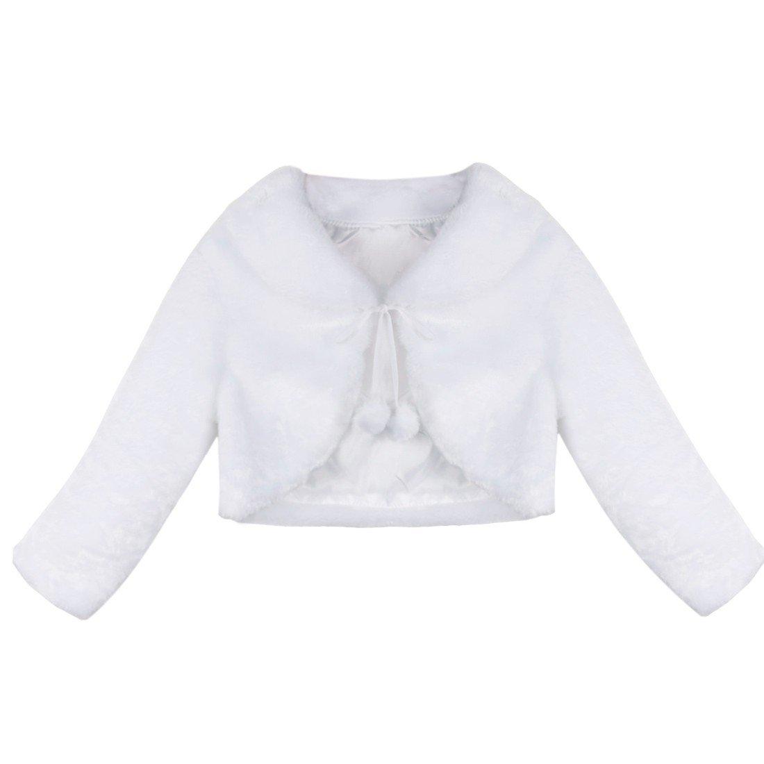TiaoBug Girls Faux Fur Flower Girl Bolero Shrug Coat Wedding Bridal Party Prom Dress Jacket White 5-6