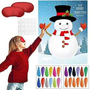 Gejoy Set di Giochi di Pin Festa di Natale Pin The Nose on The Snowman Pin Barba su Babbo Natale Claus Fissa Naso su Renna per Capodanno Natale Festa Forniture (Stile Set 1) 10 spesavip