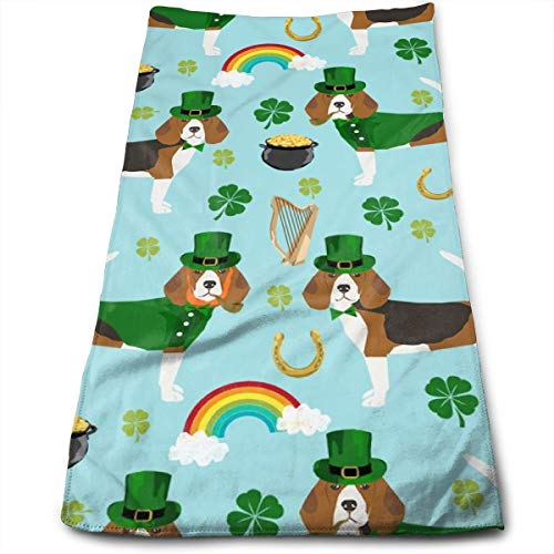 Beagle Leprechaun St. Patrick's Day Dog Breed Blue Hand Towels Dishcloth Floral Linen Hand Towels Super Soft Extra Absorbent for Bath,Spa and Gym 11.8