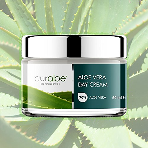 Aloe Vera Day Cream by Curaloe 75 Pure Organic Aloe Lotion Enriched with African Shea Butter, Lavender Oil Vitamin E for Face and Neck Moisturizes Skin Naturally Hydrates, Nourishes, Softens
