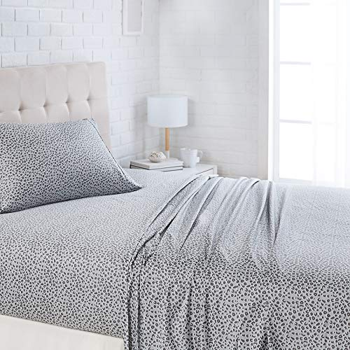 "AmazonBasics Lightweight Super Soft Easy Care Microfiber Bed Sheet Set with 16"" Deep Pockets - Twin XL, Grey Cheetah"