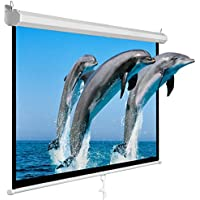 SUPER DEAL 100 Projector Screen Projection Screen Manual Pull Down HD Screen 16:9 for Home Cinema Theater Presentation Education Outdoor Indoor Public Display