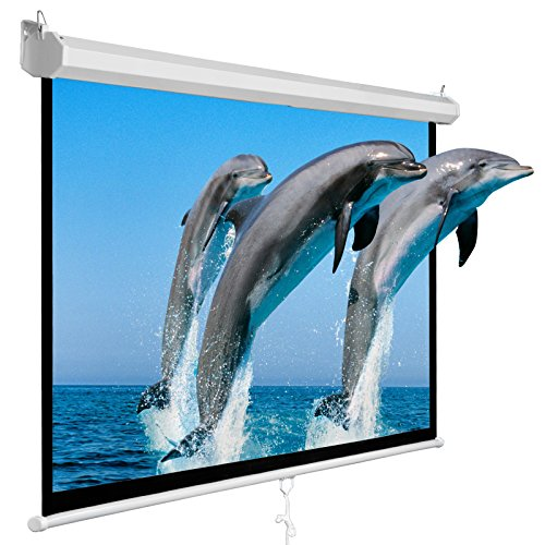 Super Deal 100'' Projector Screen Projection Screen Manual Pull Down HD Screen 16:9 for Home Cinema Theater Presentation Education Outdoor Indoor Public Display by SUPER DEAL