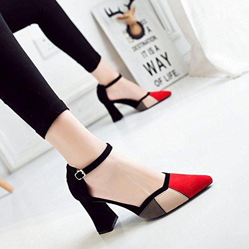 Xue Qiqi Fijaciones ranuradas Wild Señaló los Zapatos de Tacón Alto con Negrita Baotou Sandalias Butt, Hembra Solo Zapatos Hueco El rojo