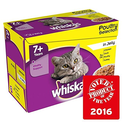 Whiskas 7+ Cat Pouches Poultry in Jelly 12 x 100g (Pack of 4) by Whiskas