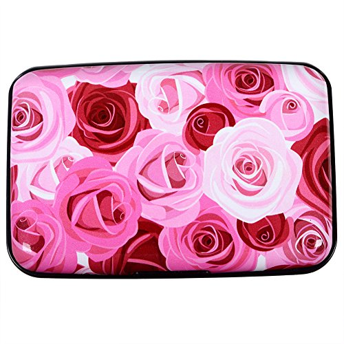 Aluminum Wallet RFID Blocking Slim Metal Business Credit Card Holder Hard Case (Roses)