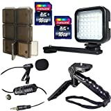 Two 16GB Memory Card + 12 Slot SD Media Card Holder + Vidpro TT-4 Grip-Stand Mini Tripod and Hand Grip + Video LED Light + Lavalier Condenser Microphone