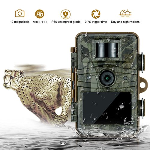 Trail Hunting Game Camera Techhunter12MP Full HD 1080P Game Video Cameras with 2.4 Viewer Night Vision 65ft Infrared 0.7S Triggering Speed IP66 Scouting Camera Hunting Outdoor Motion Activated