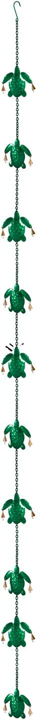 Evergreen Garden Beautiful Turtle Metal Rain Chain - 4 x 1 x 96 Inches Fade and Weather Resistant Outdoor Decoration for Homes, Yards and Gardens