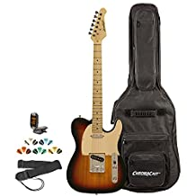 Sawtooth ET Series Electric Guitar Kit with ChromaCast Gig Bag & Accessories, Sunburst w/ Aged White Pickguard
