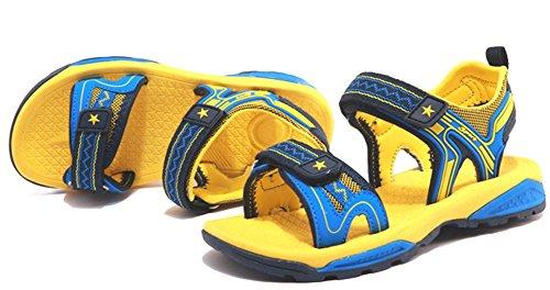 Odema Mädchen- Jungen Schnüren Sommer Breathable Strand Gehen Offene Sandalen für kleine Kinder groBe Unisex Kinder Blau Gelb