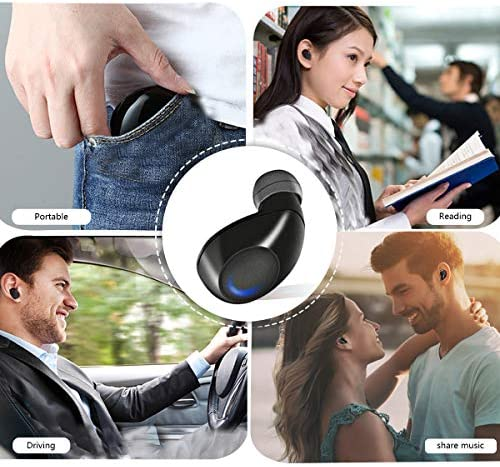 True Wireless Earbuds, Bluetooth 5.0 Wireless Headphones with Deep Bass HD sound, Bluetooth Earphones with Built-in Microphone and Portable Charging Case for Running, Sports, Gym