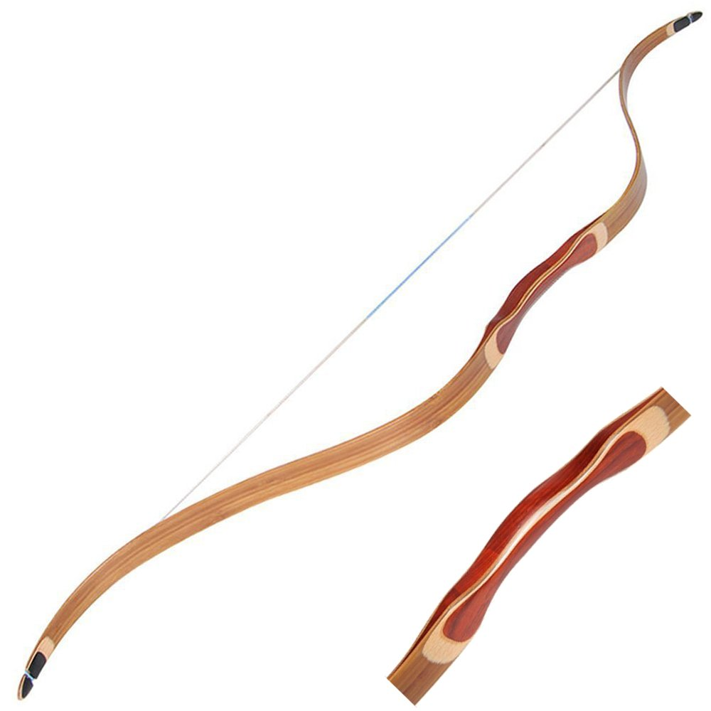 Archery Traditional Laminated Recurve Bow 30-45lbs Safflower Pear Handmade Longbow Wooden Hunting Bow Horsebow for Adults Outdoor Sports Hunting Competition Training Game Recurve Bows IRQ