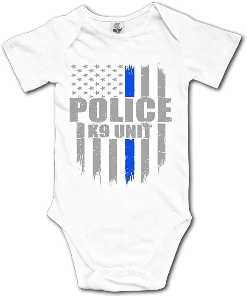 SDHEIJKY Police K9 Unit Thin Blue Line Flag Newborn Baby Outfit Creeper Short Sleeves Bodysuits
