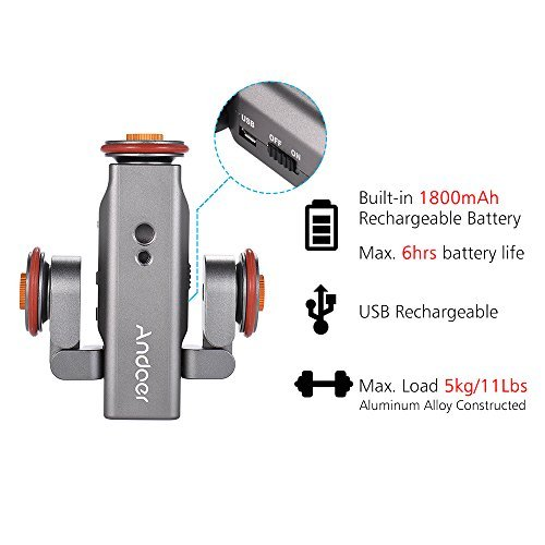 Track Dolly, Andoer Video Dolly Electric Track Slider with Wireless Remote Control 3 Speed Adjustable Chargable Mini Slider Skater for Canon Nikon Sony DSLR Camera IOS Android Smartphone