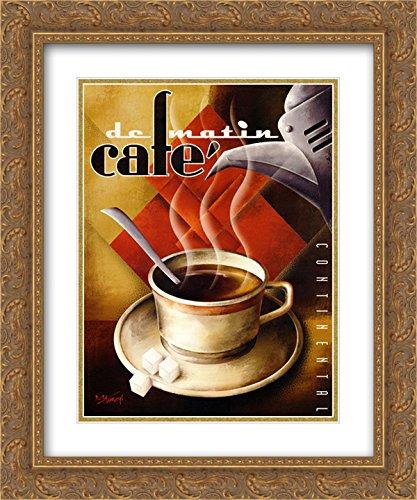 (Cafe de Matin 2X Matted 16x19 Gold Ornate Framed Art Print by Michael)