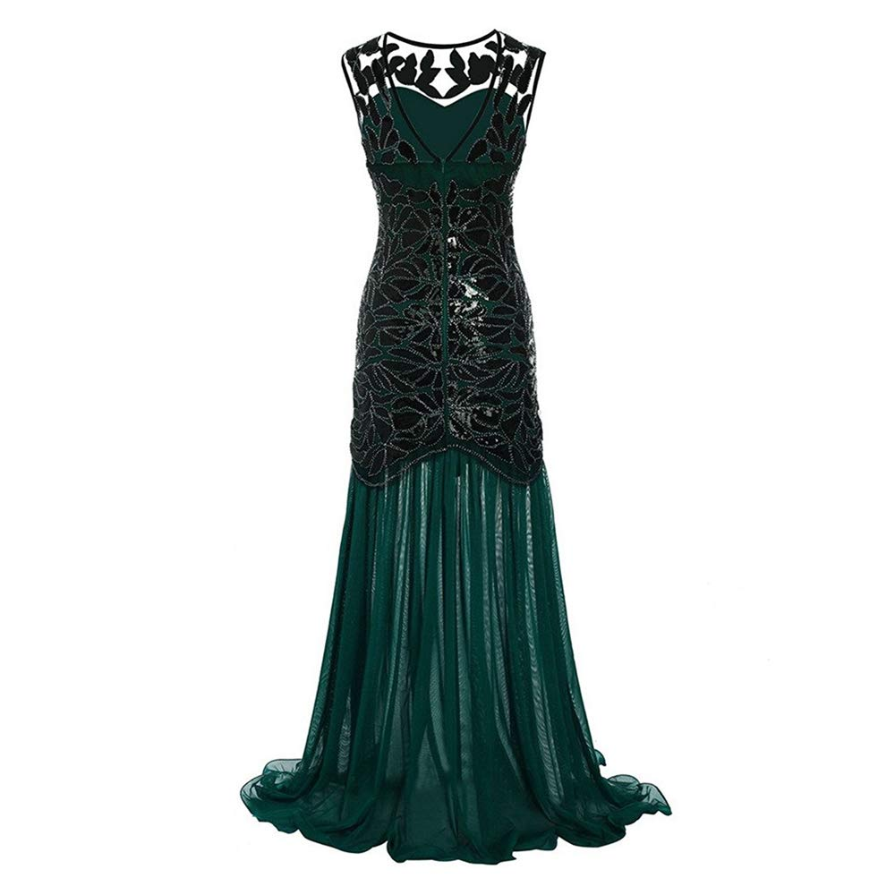 Libermall Women's Dresses Summer 1920s Vintage Sequined Patchwork Evening Party Maxi Prom Long Dress Green by Libermall Dresses