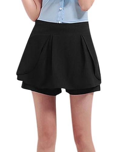 sourcingmap Mujer Talle Medio Detalle De Volantes Informal Holgado Falda pantalón