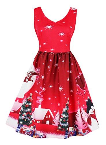 4edd1bb7a04 Killreal Women s V-Neck Sleeveless Vintage Cocktail Christmas Swing Dress