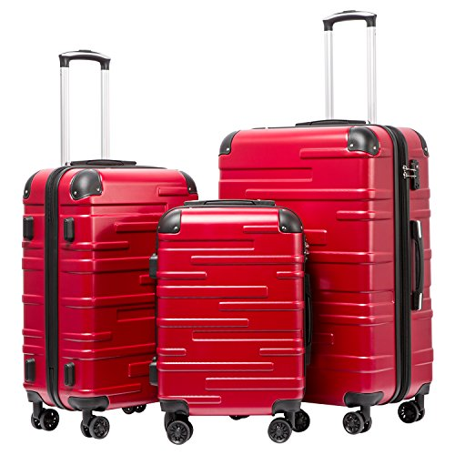 Coolife Luggage Expandable Suitcase 3 Piece Set with TSA...