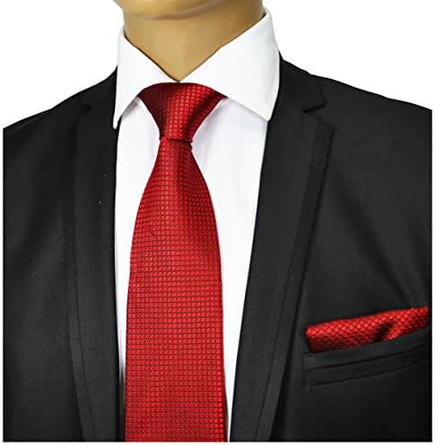 Red Silk Tie and Pocket Square . Paul Malone Red Line
