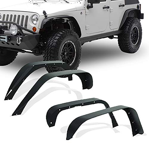 YITAMOTOR Steel Fender Flares Kit for 2007-2018 Jeep Wrangler JK (2/4 Doors), Heavy-duty Solid Steel Off-Road Fenders for Jeep Unlimited JK Front Rear Flat (4pcs)