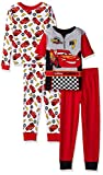 Disney Little Boys' Cars 4 Piece Cotton Pajama Set, Cars Red, 6