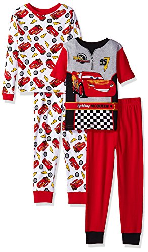 Disney Little Boys' Cars 4 Piece Cotton Pajama Set, Cars Red, 6 Cars Pajamas Pjs