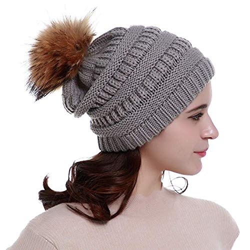White A/&O Kids Pompom Trendy Hats Kids Knitted Fur Poms Beanie Winter Luxury Cable Slouchy Skull Caps Fashion Beanie Outdoor Hats
