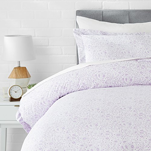 AmazonBasics Light-Weight Microfiber Duvet Cover Set - Twin/Twin XL, Lavender Paisley (Girls Duvets For)
