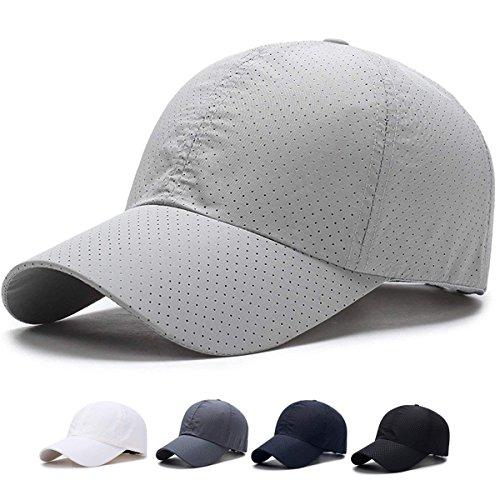 SHANLIANG Quick Dry Sports Hat Lightweight Breathable Soft Outdoor Run Baseball Cap (C-Gray)