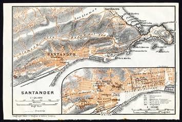 Antiguo ThePrintsCollector mapa de España-Plan de Santander-Karl baedeker-1913: Amazon.es: Hogar