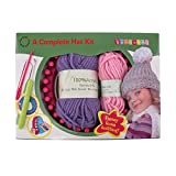 Loom Knitting Pattern Kit For Beginners - Hat Set - Purple Hat & Pink Pompom - BambooMN
