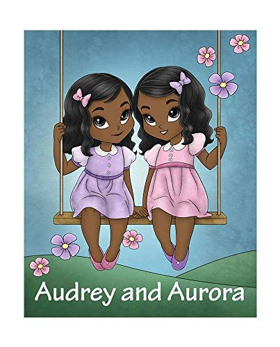 African American Sisters Art Print with Personalized Name with Curly Hair in Purple and Pink