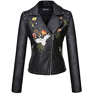 Tanming Women's Faux Leather Moto Biker Short Coat Jacket