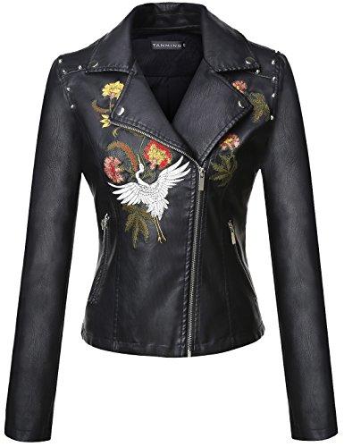 Tanming Women's Faux Leather Moto Biker Short Coat Jacket (Small, Black18)