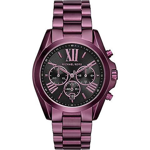 Michael Kors Women's 'Bradshaw' Quartz Stainless Steel Casual Watch, Color:Purple (Model: MK6398) (Michael Kors Bradshaw Watch 43mm)