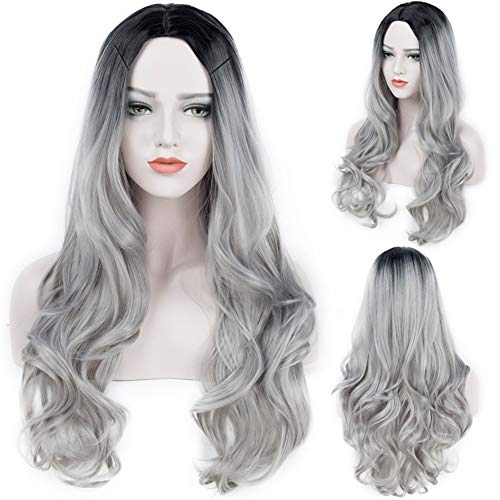 (Long Wave Wigs for Women Middle Part Wigs Dark Roots Full Machine Synthetic Wavy Hair Women Cosplay Wig+Free Wig Cap (28Inches, Silver Gray))