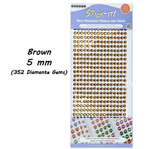 Rhinestone Sticky Stick On Self Adhesive Silver Diamante Coloured Crystal Gems - Brown 5 mm (352 Gems)