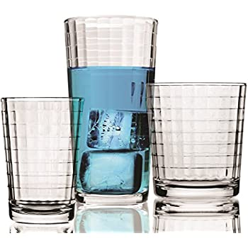 Circleware Windowpane Huge Set of 16 Drinking Glasses, 8-16oz and 8-13oz Double Old Fashioned Whiskey Glass