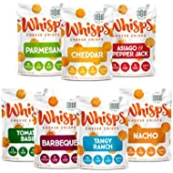 Whisps Cheese Crisps Variety Pack | Keto Snack, No Gluten, No Sugar, Low Carb, High Protein Assortment Parmesan Cheddar Asiago Pepper Jack Nacho Ranch Tomato Basil BBQ | 2.12oz (7 Pack)