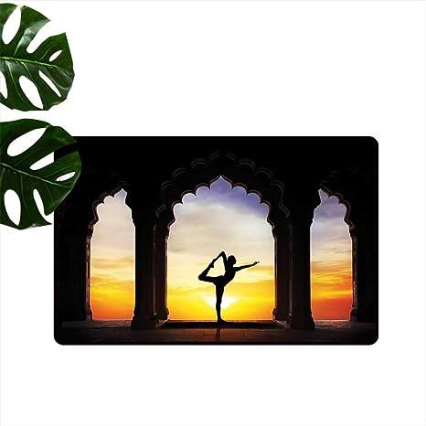 Amazon.com : Yoga,Funny doormats Silhouette Doing Yoga in ...