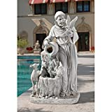 Water Fountain - 3 Foot Tall St Francis Statue Life-Giving Waters Garden Decor Fountain - Outdoor Water Feature