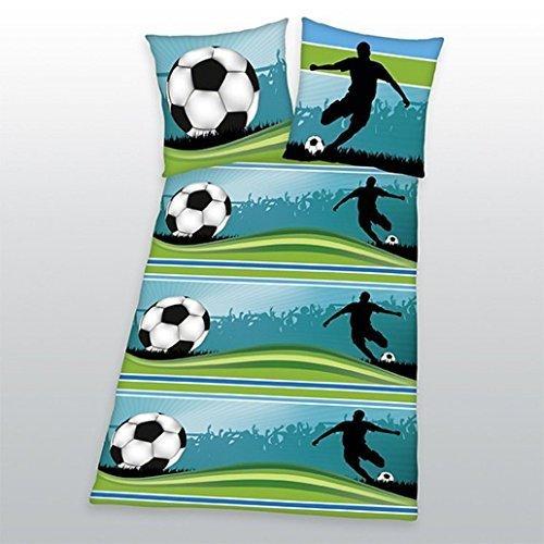 Herding 485729050 Bettwäsche Fußball, Kopfkissenbezug: 80 x 80 cm und Bettbezug: 135 x 200 cm