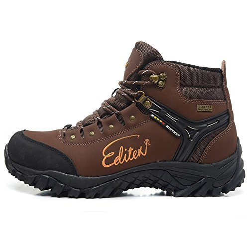 Editex Mans Outdoor Hiking Boots Waterproo Fleather Upper and Fabric Lining Rubber Outsole Two Colors (Brown 7.0(M)US)