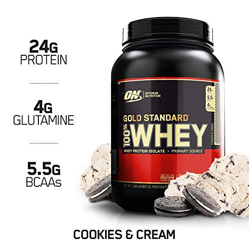 OPTIMUM NUTRITION GOLD STANDARD 100% Whey Protein Powder, Cookies and Cream, 1.85 Pound (Package May Vary)
